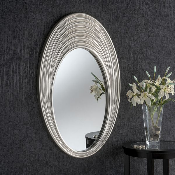 Large Ribbed Oval mirror