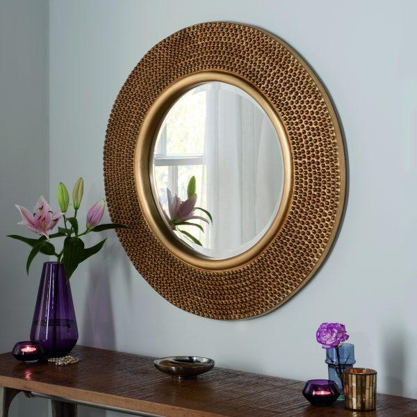 Round Studded Mirror