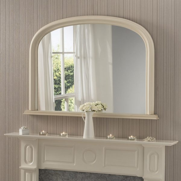 Simple framed overmantel mirror