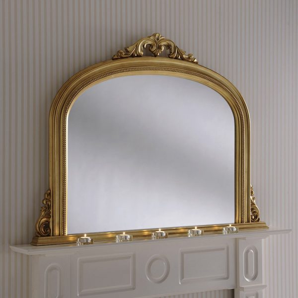 Beaded overmantel mirror