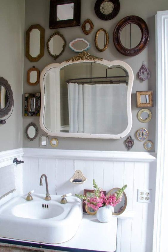 Transform Simple Bathroom Look Into Stylish - With Traditional Mirrors